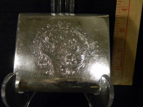 """Sterling Cigarette Case Monogrammed And Engraved 3.5"""" X"""