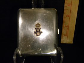 Sterling Cigarette Case With Jeweled Crown, Monogram,