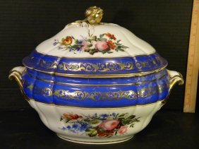 Old Paris Blue And Gold Tureen With Floral Motif