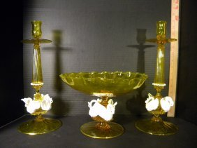 Murano Glass Candlesticks And Compote Bowl, Swan Motif