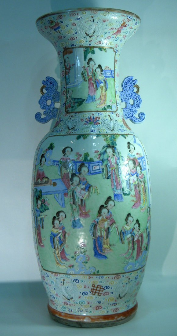 "Large Chinese Floor Vase 25.5"" high x 9"" wide"