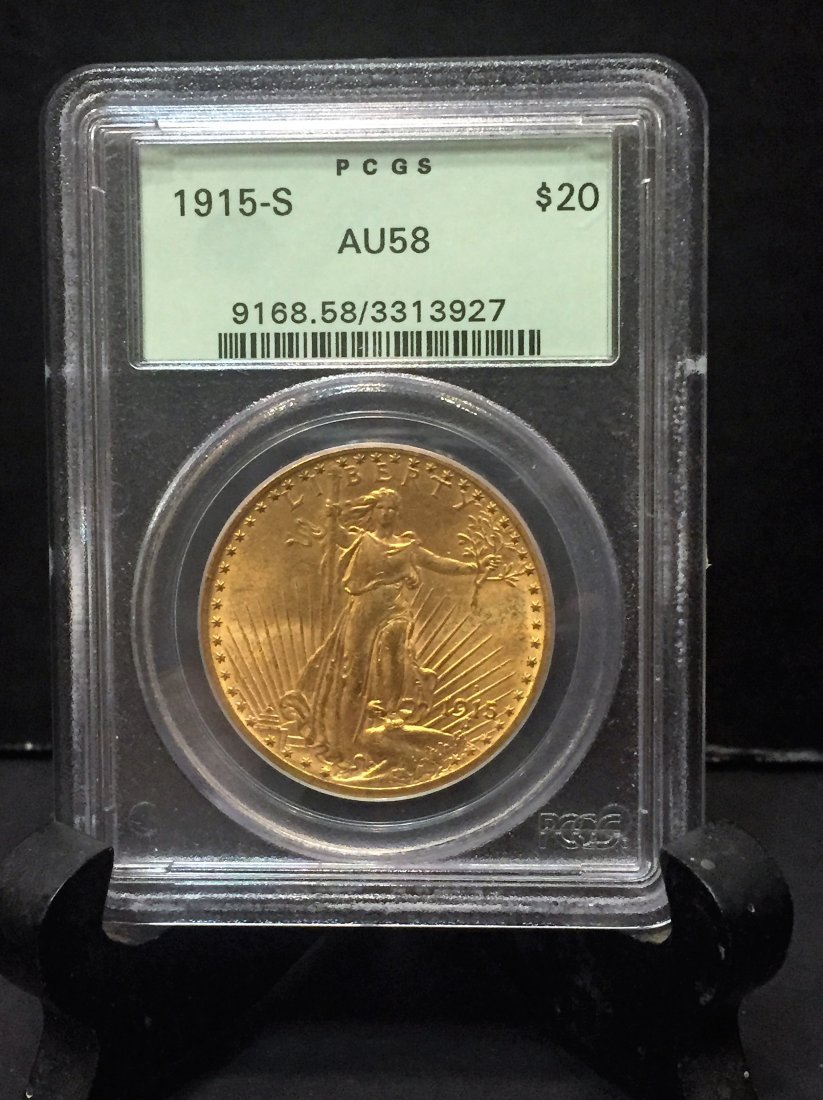 1915 $20 Gold Walking Liberty in AU58 Condition