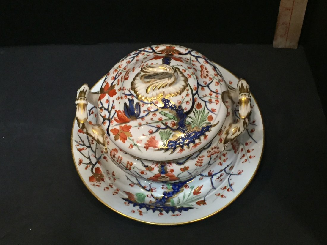 Royal Crown Derby Miniature Tureen in George III Cherry - 4