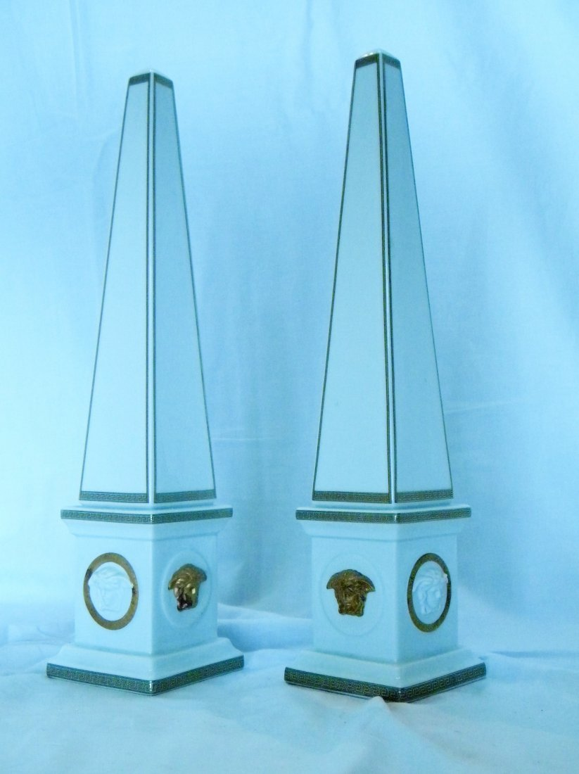 Pair of Rosenthal for Versace Obelisks