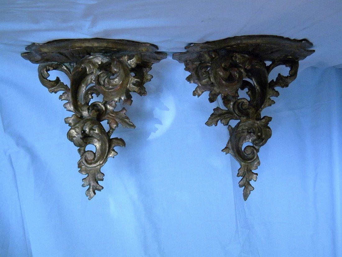 Pair of Florentine Gold Leaf Brackets