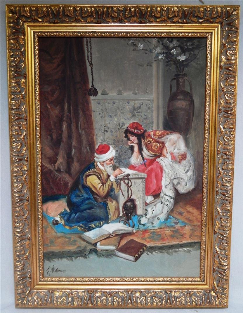 """Orientalist oil on canvas signed """"A. Wittmore"""" on"""