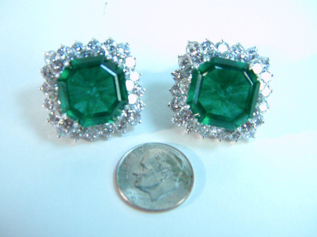 Pair of Emerald and CZ Earrings from Neiman Marcus