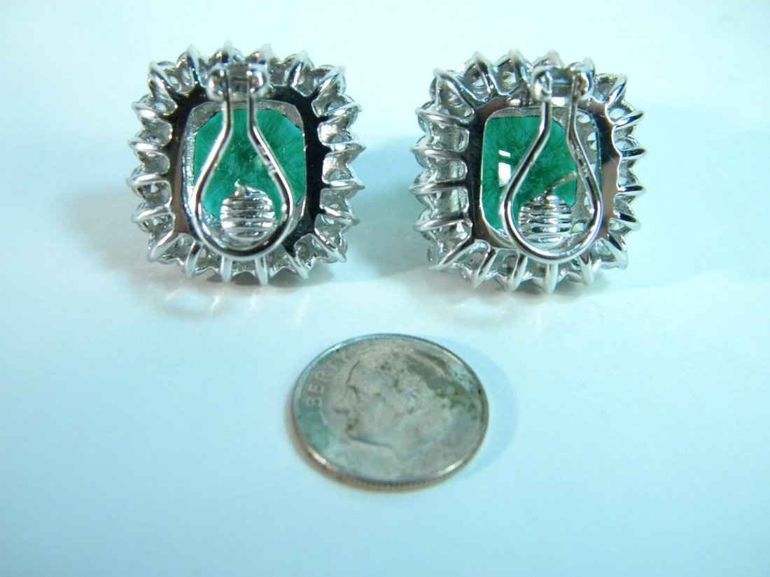 Pair of Emerald and CZ Earrings from Neiman Marcus - 2