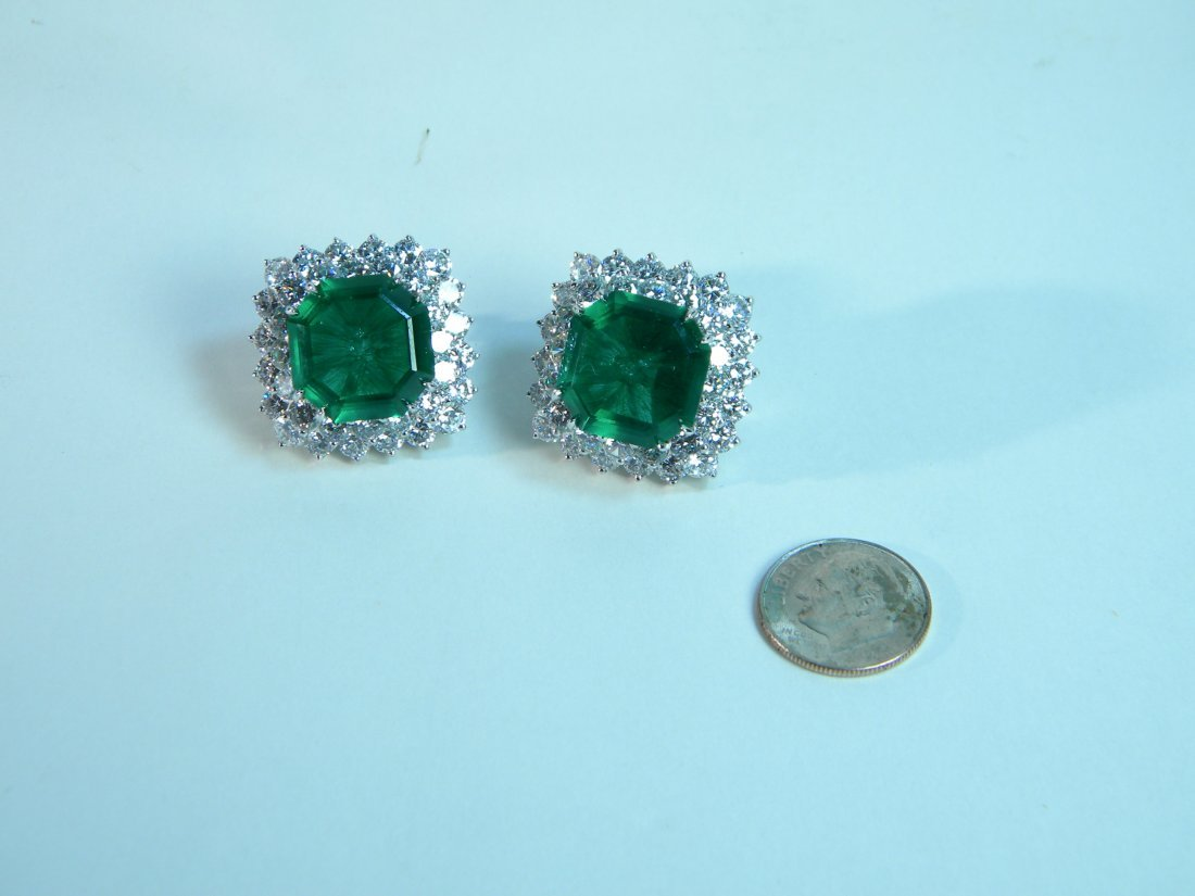 Pair of Emerald and CZ Earrings from Neiman Marcus - 3