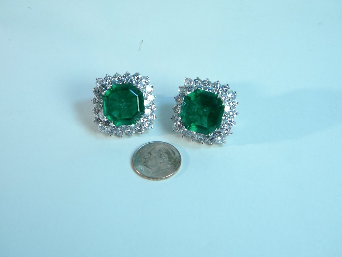Pair of Emerald and CZ Earrings from Neiman Marcus - 4