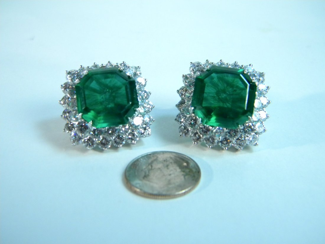 Pair of Emerald and CZ Earrings from Neiman Marcus - 5