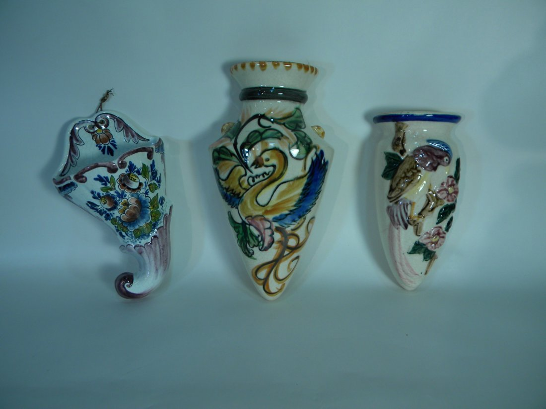 Group of Three Wall Pockets Depicting Birds and
