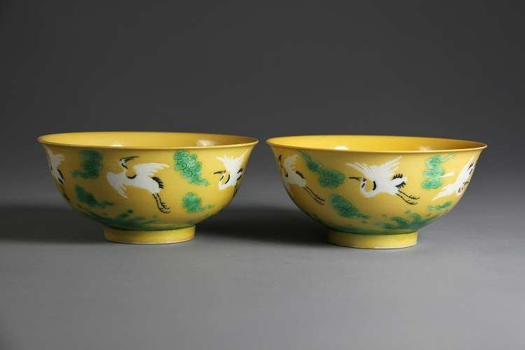 Pair Of Yellow Ground Painted Subtle Crane Porcelain Bo