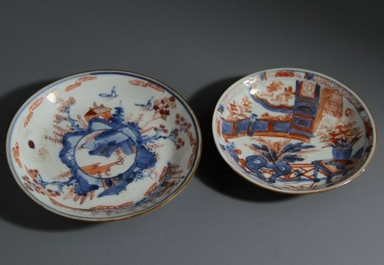17C Pair of Blue and White/ Iron red Glazed Porcelain p