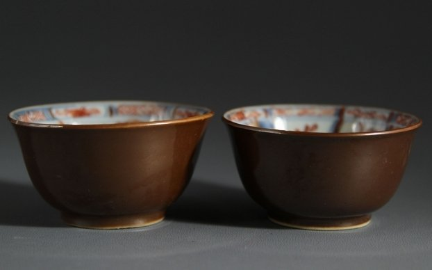 17C Pair of Porcelain Cups with Brown-glazed Out & Blue