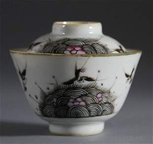 Tongzhi Mark Ink-Printing Porcelain Lidden Cup with Swa