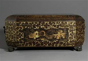 19C Chinese Black And Gilt Lacquer Sewing Box with Figu