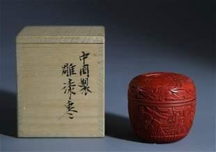 Cinnabar Lacquer Perfume Box with Landscape & Figure De