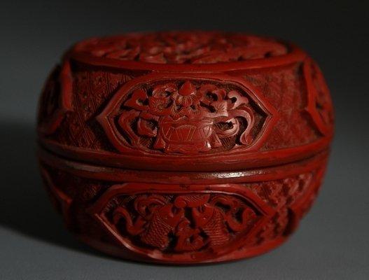 Qing Cinnabar Lacquer Perfume Box with Peony Design