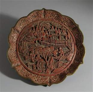 Cinnabar Lacquer Plate with Landscape & Figure Carving