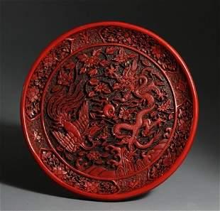 JiaJing Mark Cinnabar Lacquer Plate with Dragon Pheonix