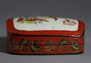 C Carved Lacquer Box with Flower Design