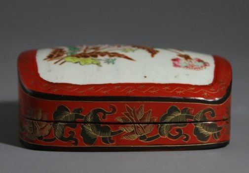 18C Carved Lacquer Box with Flower Design