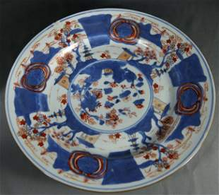 Kangxi Blue and White and Gold Glazed plate with Landsc