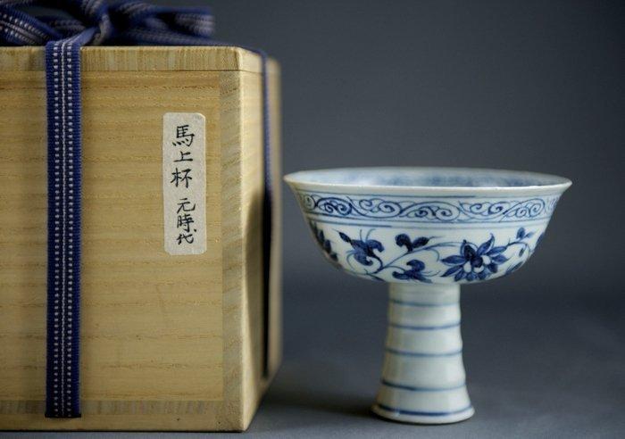 Yuan Blue & White Porcelain Goblet With Lotus Design