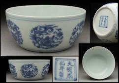 Ming Chenghua Blue  White Porcelain Bowl with Dragon