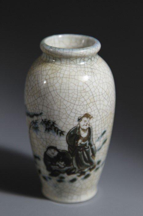 Ge Ware Porcelain Vase Painted Taoism Figure