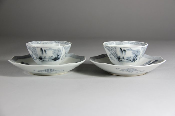 A Pair Set Blue and White Porcelain Cups & Plates