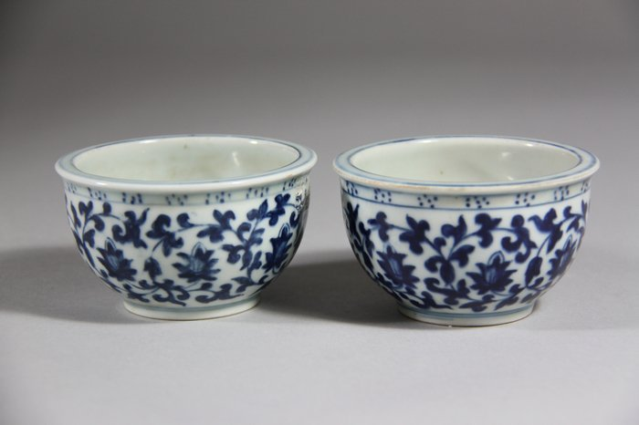 A Pair of YongZheng Mark Blue and White Cups