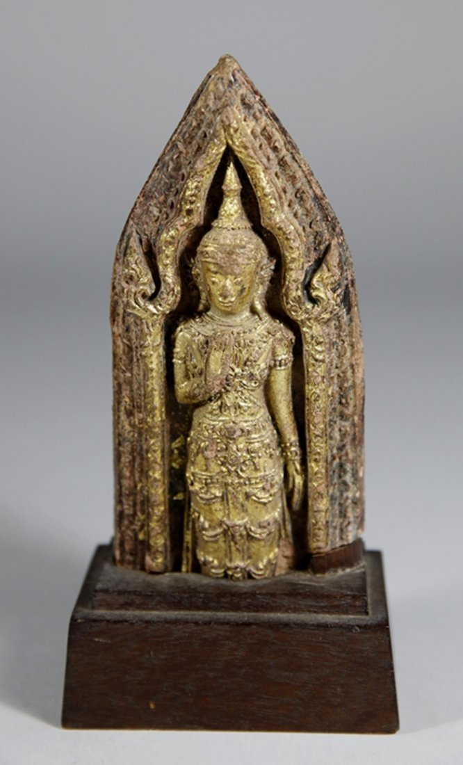 Ancient Stone Gold Gilded Buddha  Figure With Wood
