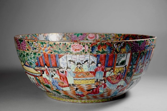 A Large Canton Famille Rose  Punch Bowl