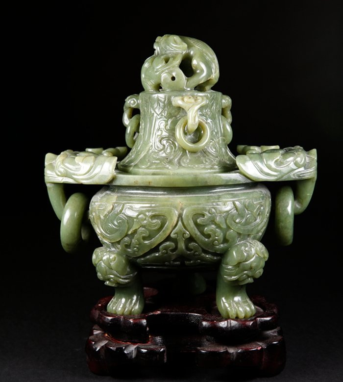 A Green Jade Carved Double Dragon Lid Tripod Censer
