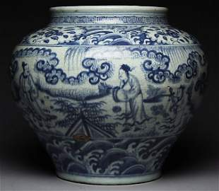 A Ming Dynasty Blue And White Jar With Figural Scenes