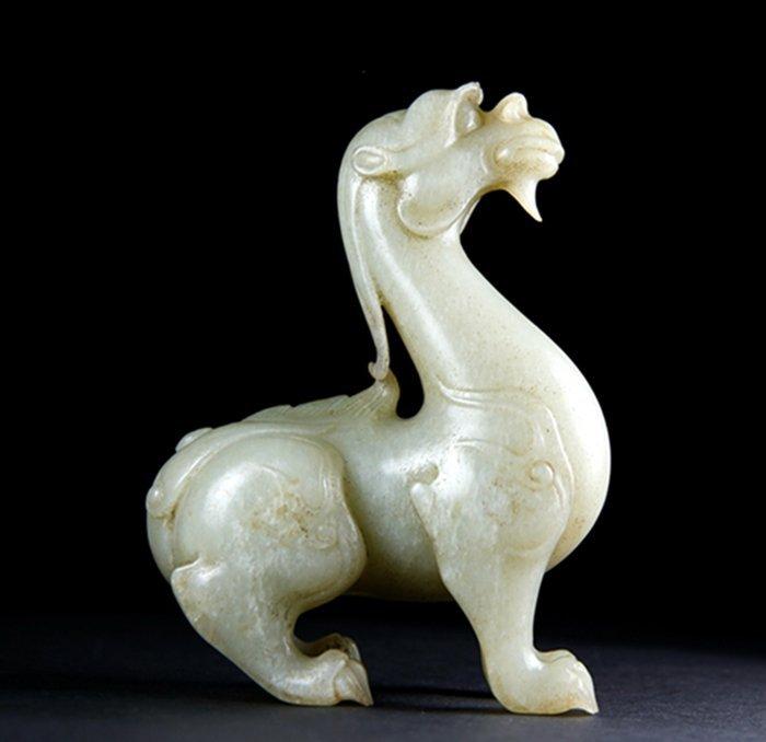 A YUAN/MING HEITIAN WHITE JADE CARVED AUSPICIOUS BEAST - 3
