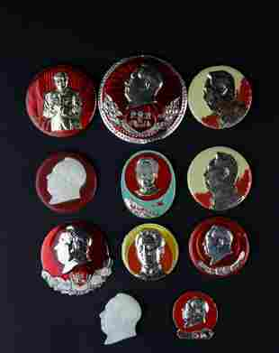 A GROUP OF ELVEN CHAIRMAN MAO'S BADGES