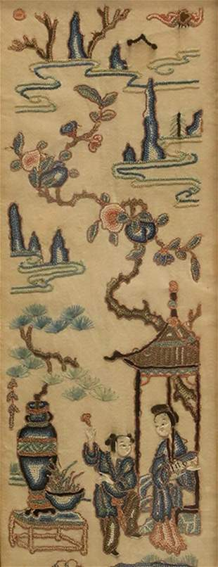 A FRAMED EMBROIDERED SILK HANGING PANEL
