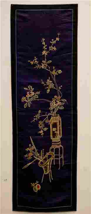 A CHINESE EMBROIDERED SILK PURPLE RECTANGULAR PANEL