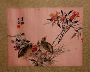 A PAIR OF CHINESE SILK EMBROIDERED PIECES