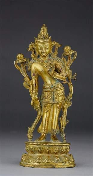 QING PERIOD BRONZE TARA BOSATSU BUDDHA