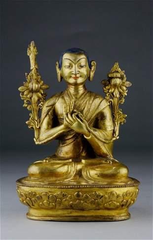QING PERIOD GILT BRONZE BERZIN BUDDHA