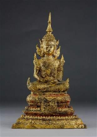 17TH CENTURY THAI GILT BRONZE BUDDHA