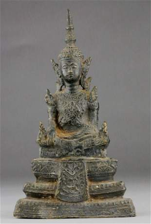 17TH CENTURY THAI METAL BUDDHA