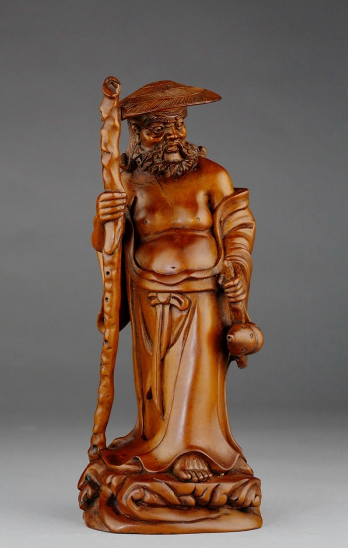 A END OF QING HUANGYANG WOOD CARVING OF DAMO FIGURE