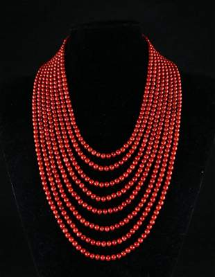 EIGHT-STRAND RED CORAL AND SILVER NECKLACE