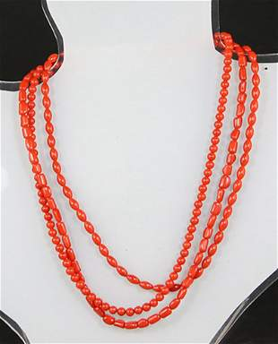 THREE-STRAND RED CORAL AND SILVER NECKLACE