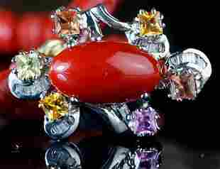 A AKA RED CORAL, DIAMOND AND 18K PLATINUM PENDANT